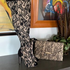 New: Madison By ShoeDazzle Peep Toe Knee High Boot